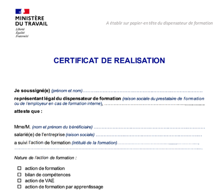 Certification de formation